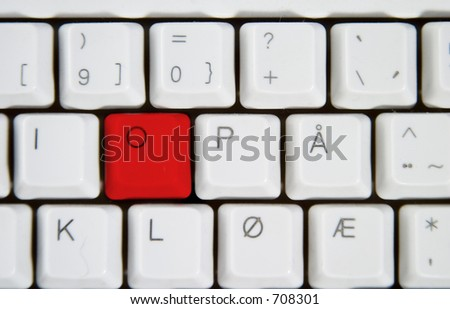 Isolated letter O on from a computer desktop keyboard highlighted in red.