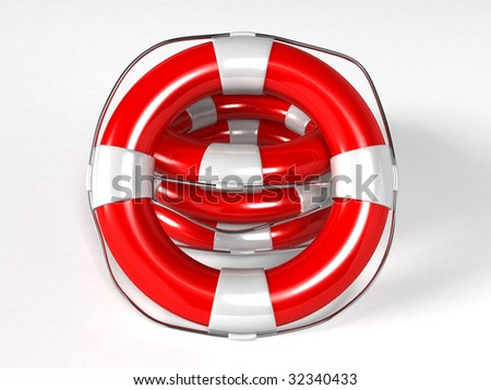 Isolated life buoy - 3d render - stock photo