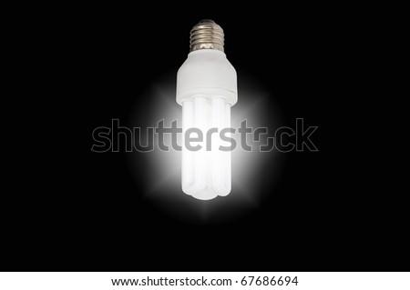 isolated light bulb on black background - stock photo