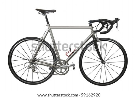 Isolated lightweight race bicycle with titanium frame - stock photo