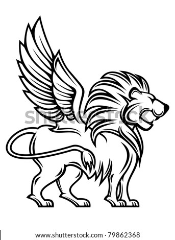Isolated lion with wings for heraldry design. Vector version also available in gallery - stock photo