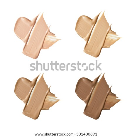 Isolated liquid foundation samples set - stock photo