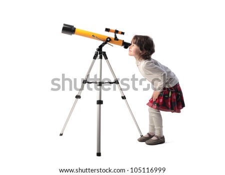 Isolated little girl looking into a telescope - stock photo