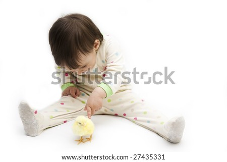 isolated little girl with easter chicken - stock photo