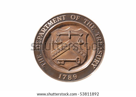 Isolated logo stamp of Washington DC United States Treasury Department with white background. - stock photo