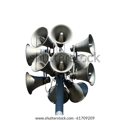 Isolated loudspeakers with a natural white background - stock photo