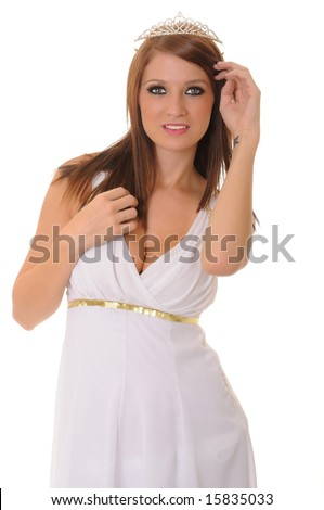 Isolated lovely and sexy young brunette girl dressed like a Greek Goddess
