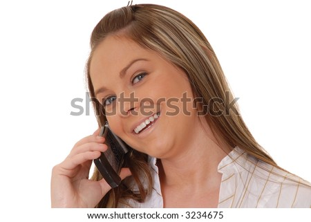 Isolated lovely and sexy young brunette girl talking on a telephone