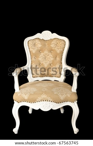 Isolated: luxury arm chair on black background - stock photo