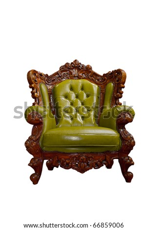 Isolated: luxury leather armchair  on white background - stock photo
