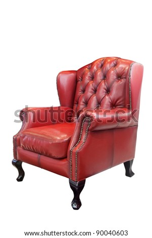 Great Isolated Luxury Red Leather Armchair