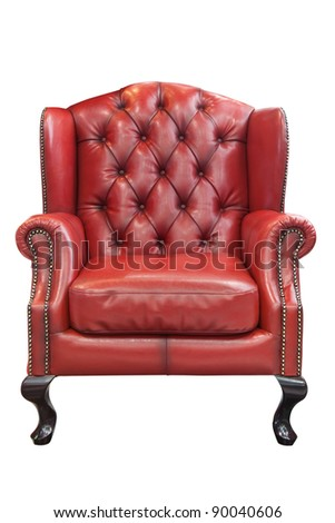Isolated luxury Red leather armchair - stock photo