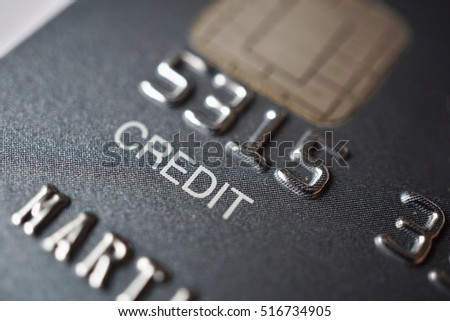 Isolated Macro Detail Of A Brand New Black And Gray Luxurious Credit Card With Focus On