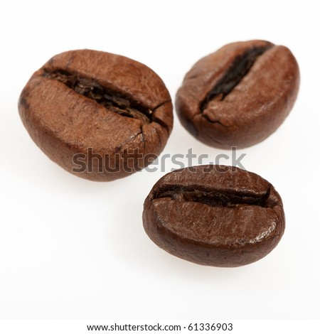 Isolated macro shot of coffee beans - stock photo