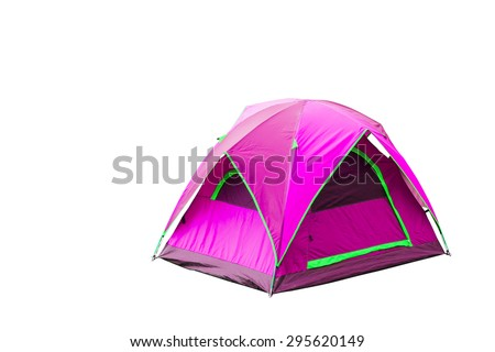 Isolated magenta dome tent with clipping path - stock photo