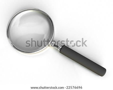 Isolated magnifying glass on white background. For other similar images from the series, please, check my portfolio.