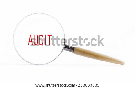 """Isolated Magnifying glass on white background searching missing puzzle peace """"audit"""" - stock photo"""