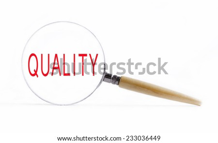 """Isolated Magnifying glass on white background searching missing puzzle peace """"quality"""" - stock photo"""