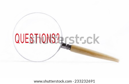 "Isolated Magnifying glass on white background searching missing puzzle peace ""questions"""