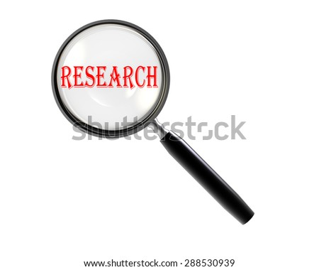 """Isolated Magnifying glass on white background searching """"RESEARCH"""" - stock photo"""