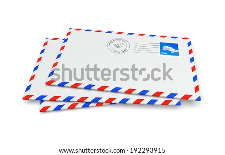 Isolated mail envelopes with postage stamp and postmark