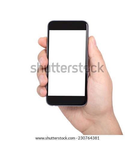 Isolated male hand holding a phone with white screen - stock photo