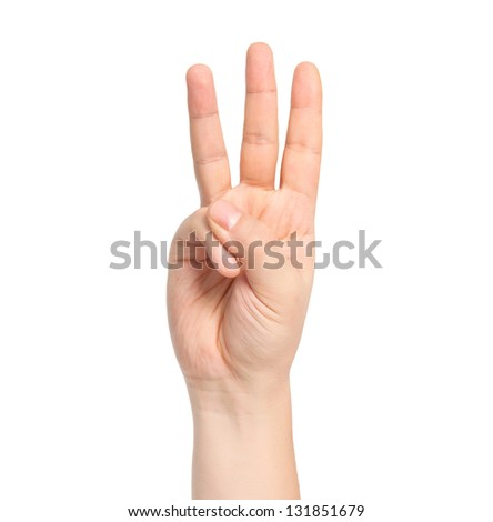 isolated male hand showing number three - stock photo