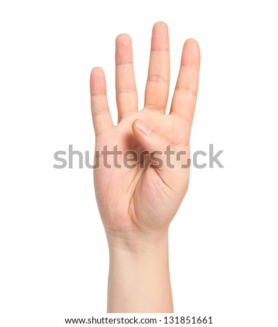 isolated male hand showing the number four - stock photo