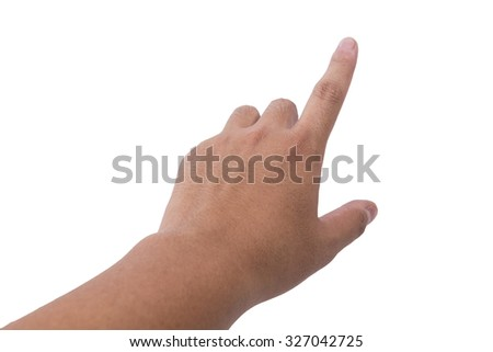 isolated male hand touching or pointing to something - stock photo