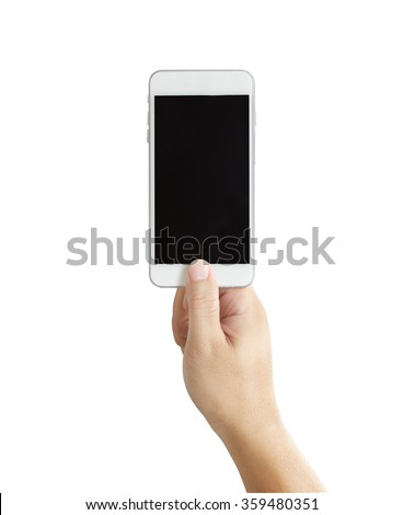 Isolated male hands holding the phone in white background  - stock photo