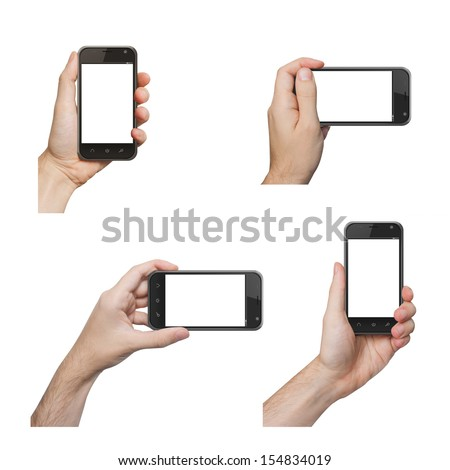 Isolated male hands holding the phone similar to iphone in different ways - stock photo