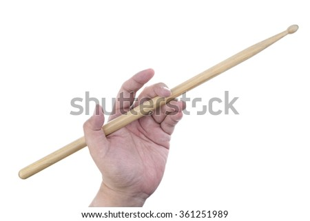 Isolated male left hand holding drum stick in traditional position on white background