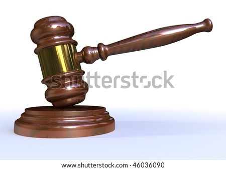 isolated mallet used for law or auctions - stock photo