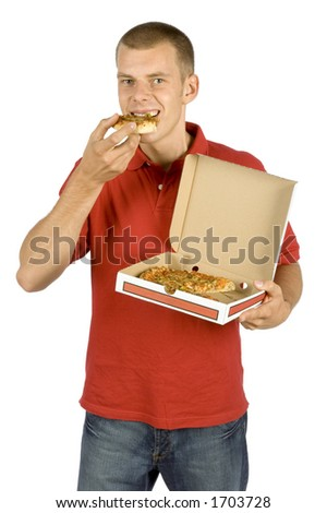 isolated man eats pizza - stock photo