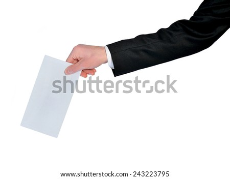 Isolated man hand holding mail - stock photo