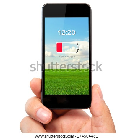isolated man hand holding the phone with low battery on a screen - stock photo