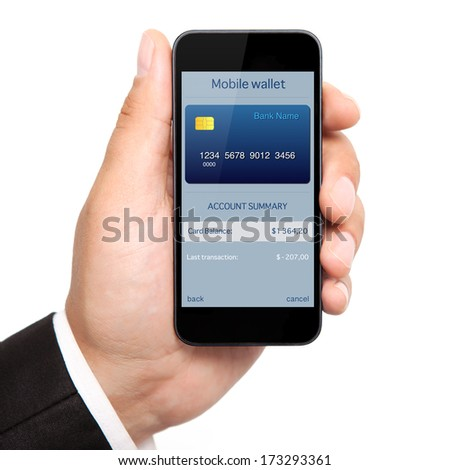 isolated man hand holding the phone with mobile wallet onlain shopping on the screen - stock photo