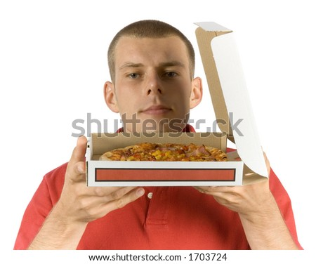 isolated man smells pizza - stock photo