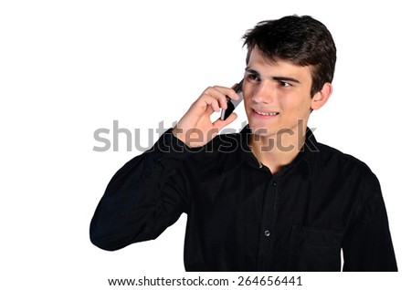 isolated man speaking at phone - stock photo