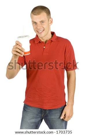isolated man with cola - stock photo