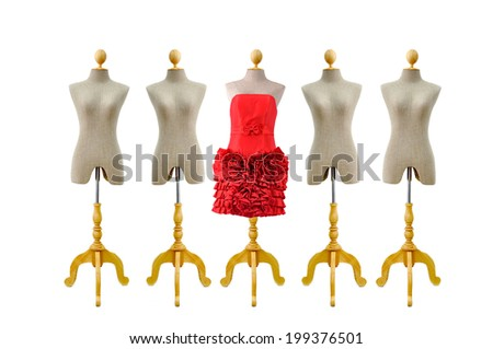 isolated mannequin with red dress on white background