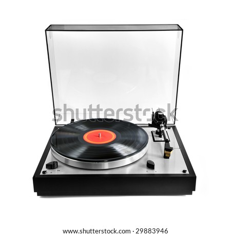 Isolated manual record player with spinning vinyl lp - stock photo