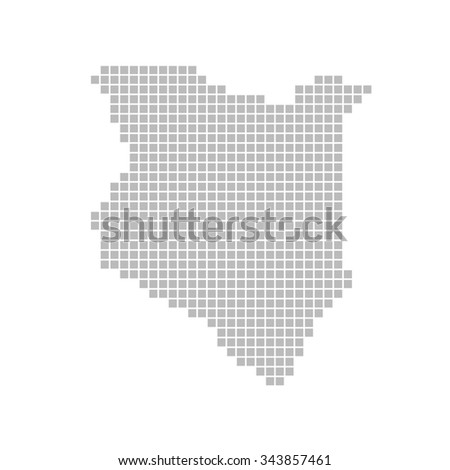 Isolated map made of grey dots - Kenya - stock photo