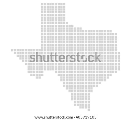 Isolated Map with grey pixels is showing Outline of Texas