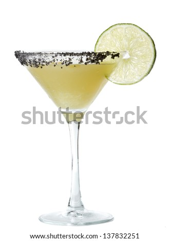 isolated margarita martini served with black lava salt on the rim