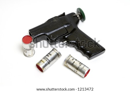 Isolated marine flare launcher with 3 shells (signals) - stock photo