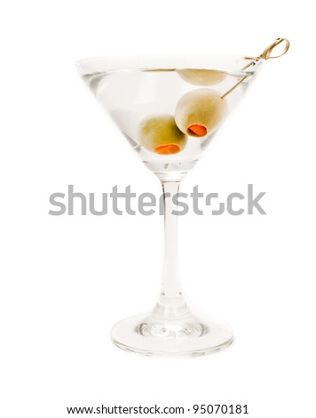 isolated martini on a white background garnished with olives