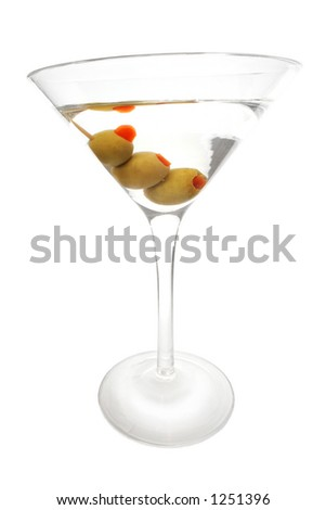 Isolated martini with three olives; includes CP - stock photo