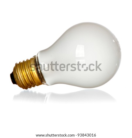 Isolated mate light bulb on white background with reflection - stock photo
