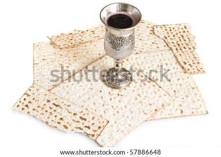 isolated matzot with red wine - stock photo